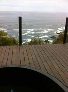 ocean view from hotub